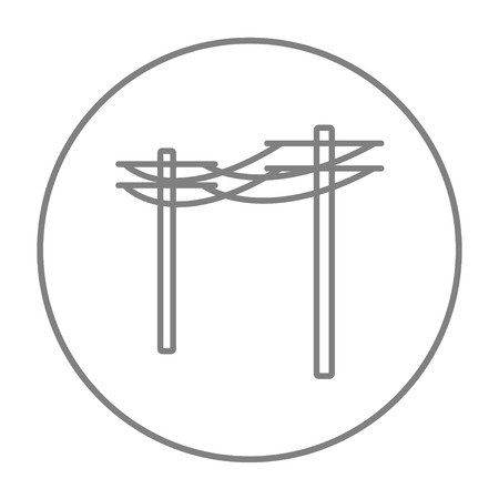 lighting column: High voltage power lines line icon for web, mobile and infographics. Vector grey thin line icon in the circle isolated on white background.