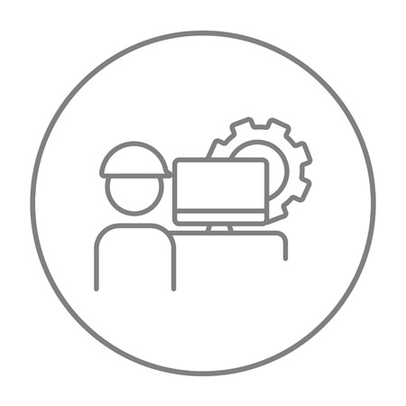 computerized: Industrial worker with computer monitor and gear on background line icon for web, mobile and infographics. Vector grey thin line icon in the circle isolated on white background.