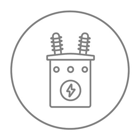 Haute tension icône de la ligne de transformateur pour le web, le mobile et infographies. Vecteur gris mince ligne icône dans le cercle isolé sur fond blanc. Vecteurs