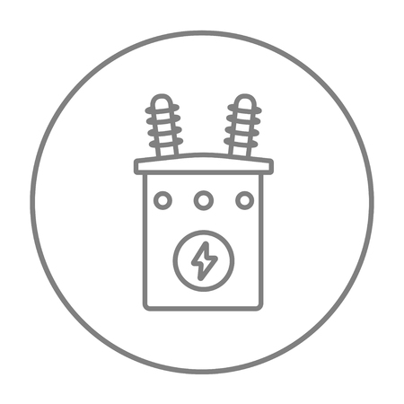 sub station: High voltage transformer line icon for web, mobile and infographics. Vector grey thin line icon in the circle isolated on white background.