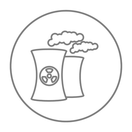 fission: Nuclear power plant line icon for web, mobile and infographics. Vector grey thin line icon in the circle isolated on white background.
