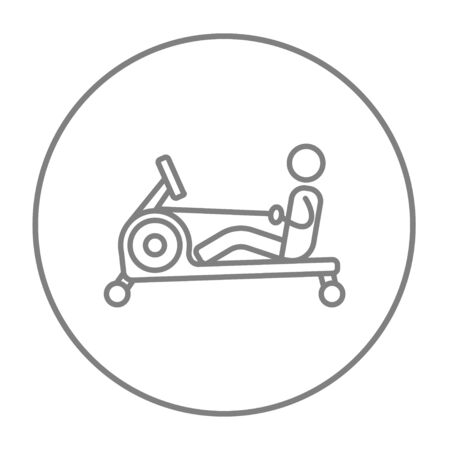 apparatus: Man exercising with gym apparatus line icon for web, mobile and infographics. Vector grey thin line icon in the circle isolated on white background.