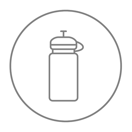 non alcoholic: Sport water bottle line icon for web, mobile and infographics. Vector grey thin line icon in the circle isolated on white background.