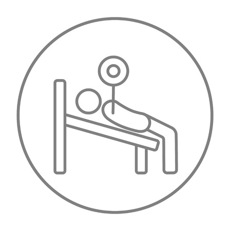 Man lying on bench and lifting barbell line icon for web, mobile and infographics. Vector grey thin line icon in the circle isolated on white background. Illustration