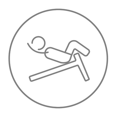 crunches: Man doing crunches on incline bench line icon for web, mobile and infographics. Vector grey thin line icon in the circle isolated on white background.