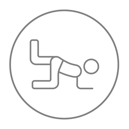 buttocks: Man exercising buttocks line icon for web, mobile and infographics. Vector grey thin line icon in the circle isolated on white background.