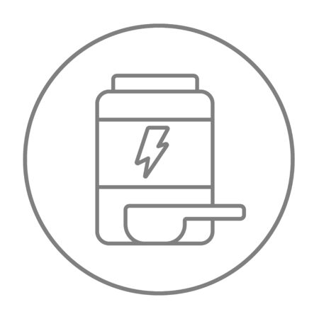 supplementation: Sport nutrition container line icon for web, mobile and infographics. Vector grey thin line icon in the circle isolated on white background. Illustration