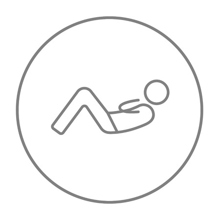 crunches: Man doing abdominal crunches line icon for web, mobile and infographics. Vector grey thin line icon in the circle isolated on white background. Illustration