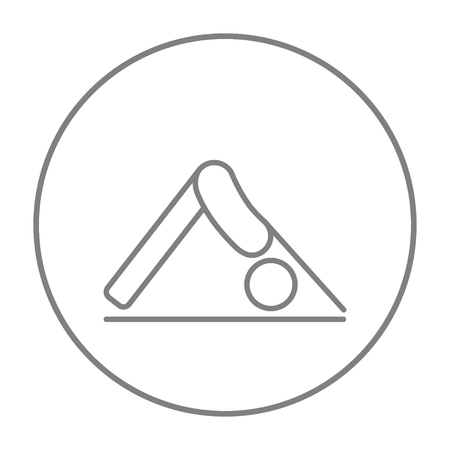 downward: A man standing in yoga downward facing dog pose line icon for web, mobile and infographics. Vector grey thin line icon in the circle isolated on white background.