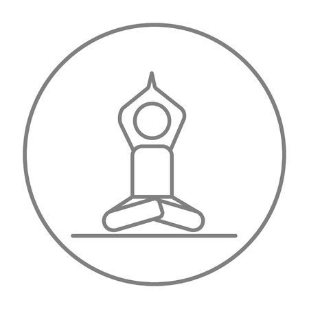 elasticity: A man meditating in lotus pose line icon for web, mobile and infographics. Vector grey thin line icon in the circle isolated on white background.