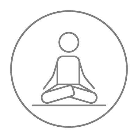 concentrate: A man meditating in lotus pose line icon for web, mobile and infographics. Vector grey thin line icon in the circle isolated on white background.