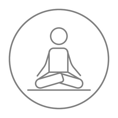 elasticidad: Un hombre meditando en posición de loto icono de línea para web, móvil y la infografía. gris del vector icono de línea fina en el círculo aislado en el fondo blanco.