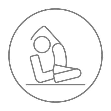 pada: Man sitting in asana eka pada radzhakapotasana line icon for web, mobile and infographics. Vector grey thin line icon in the circle isolated on white background. Illustration
