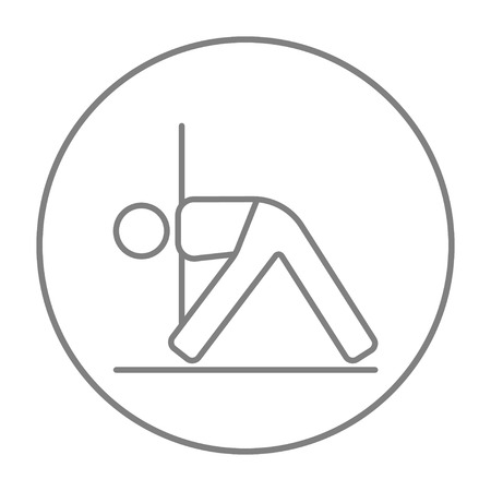 man meditating: A man meditating in triangle pose line icon for web, mobile and infographics. Vector grey thin line icon in the circle isolated on white background.