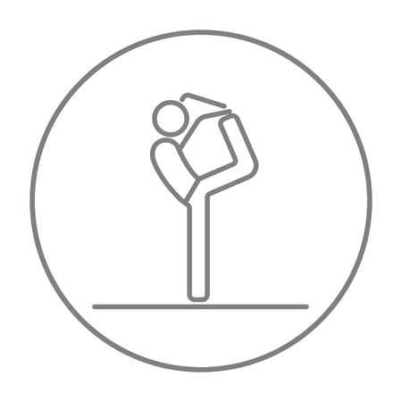 Man practicing yoga line icon for web, mobile and infographics. Vector grey thin line icon in the circle isolated on white background.