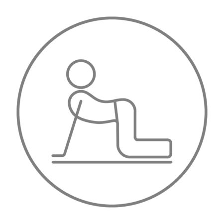 A man practicing yoga cow pose line icon for web, mobile and infographics. Vector grey thin line icon in the circle isolated on white background.