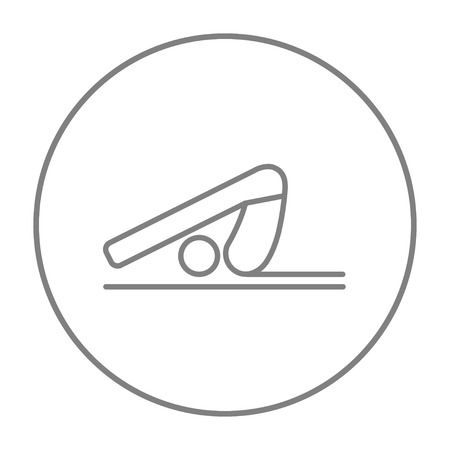plow: A man practicing yoga plough pose line icon for web, mobile and infographics. Vector grey thin line icon in the circle isolated on white background. Illustration