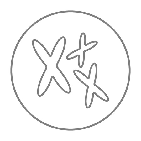 chromosomes: Chromosomes line icon for web, mobile and infographics. Vector grey thin line icon in the circle isolated on white background.