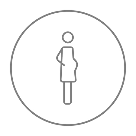 embryo growth: Pregnant woman line icon for web, mobile and infographics. Vector grey thin line icon in the circle isolated on white background. Illustration