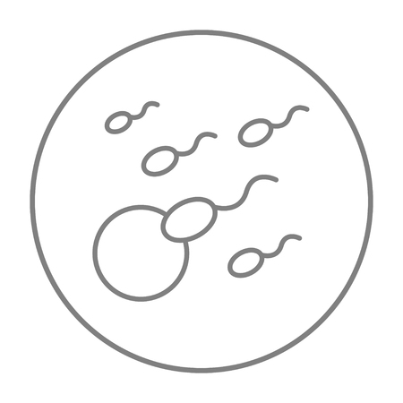 Fertilization line icon for web, mobile and infographics. Vector grey thin line icon in the circle isolated on white background.