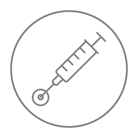 fertilisation: In vitro fertilisation line icon for web, mobile and infographics. Vector grey thin line icon in the circle isolated on white background.