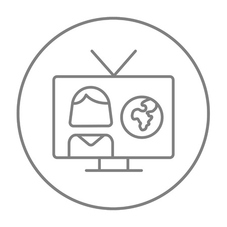 TV report line icon for web, mobile and infographics. Vector grey thin line icon in the circle isolated on white background.