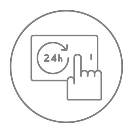 touchscreen: Finger touching 24 hours service button on a touchscreen line icon for web, mobile and infographics. Vector grey thin line icon in the circle isolated on white background.