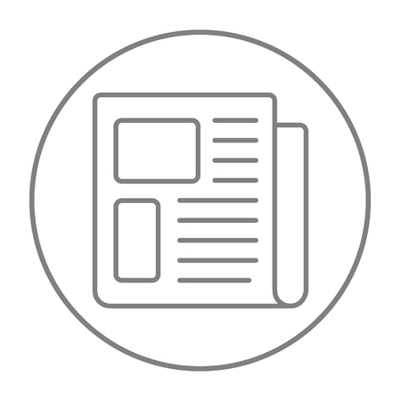 Newspaper line icon for web, mobile and infographics. Vector grey thin line icon in the circle isolated on white background.