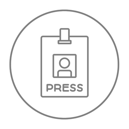 Press pass ID card line icon for web, mobile and infographics. Vector grey thin line icon in the circle isolated on white background. Illustration