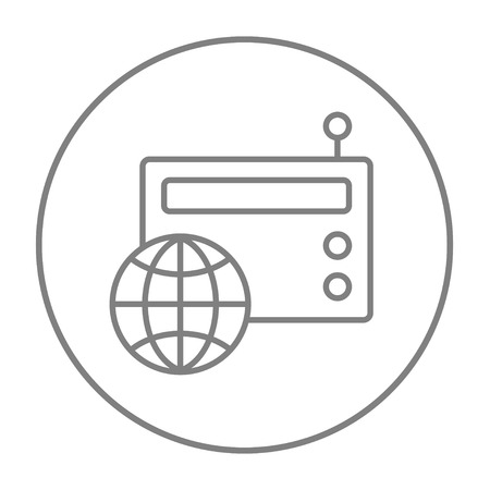 world receiver: Retro radio with globe line icon for web, mobile and infographics. Vector grey thin line icon in the circle isolated on white background.