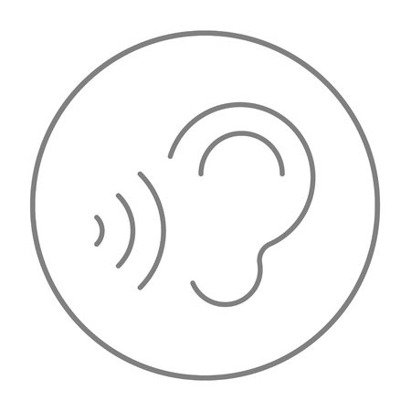 earing: Ear and sound waves line icon for web, mobile and infographics. Vector grey thin line icon in the circle isolated on white background.