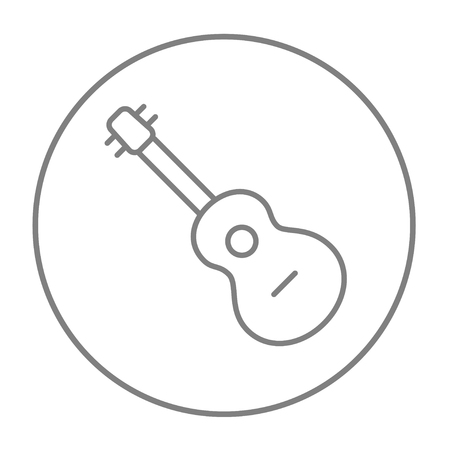 strum: Guitar line icon for web, mobile and infographics. Vector grey thin line icon in the circle isolated on white background.