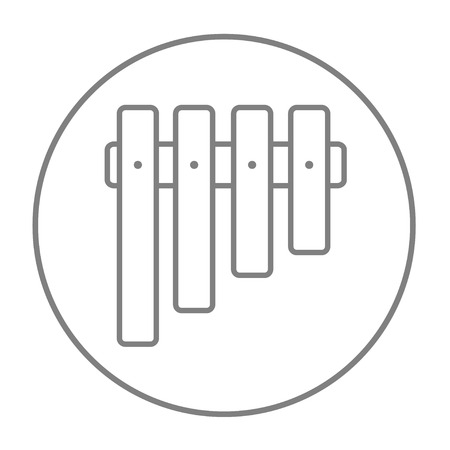panpipes: Vibraphone line icon for web, mobile and infographics. Vector grey thin line icon in the circle isolated on white background. Illustration