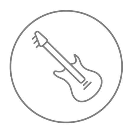 strum: Electric guitar line icon for web, mobile and infographics. Vector grey thin line icon in the circle isolated on white background.