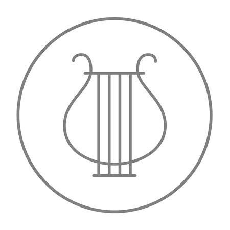 lyra: Lyre line icon for web, mobile and infographics. Vector grey thin line icon in the circle isolated on white background.