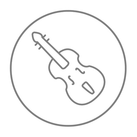 sounds: Cello line icon for web, mobile and infographics. Vector grey thin line icon in the circle isolated on white background.