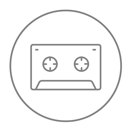 tape line: Cassette tape line icon for web, mobile and infographics. Vector grey thin line icon in the circle isolated on white background. Illustration