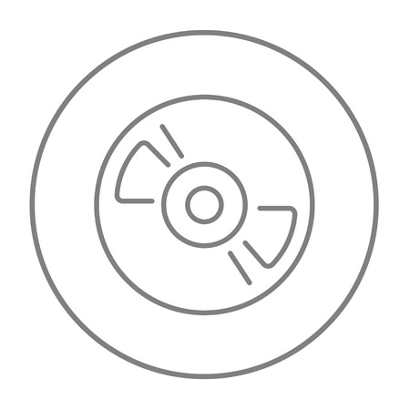 hi fi: Reel tape deck player recorder line icon for web, mobile and infographics. Vector grey thin line icon in the circle isolated on white background.