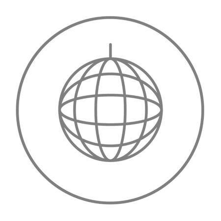 suspend: Disco ball line icon for web, mobile and infographics. Vector grey thin line icon in the circle isolated on white background.
