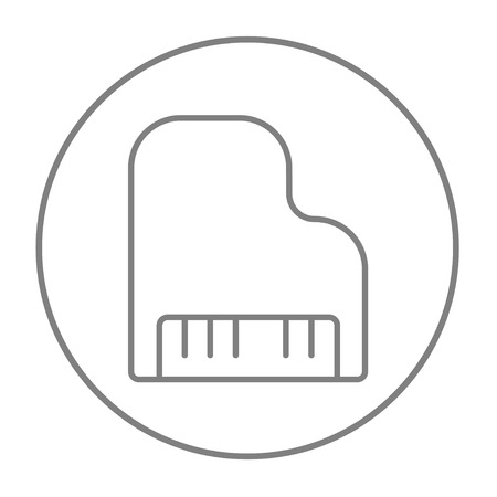 pianoforte: Piano line icon for web, mobile and infographics. Vector grey thin line icon in the circle isolated on white background. Illustration