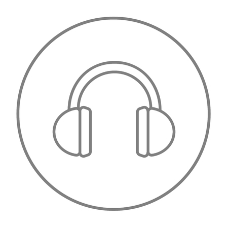 Headphone line icon for web, mobile and infographics. Vector grey thin line icon in the circle isolated on white background.