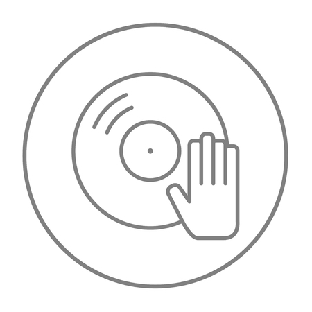 Disc with dj hand line icon for web, mobile and infographics. Vector grey thin line icon in the circle isolated on white background.