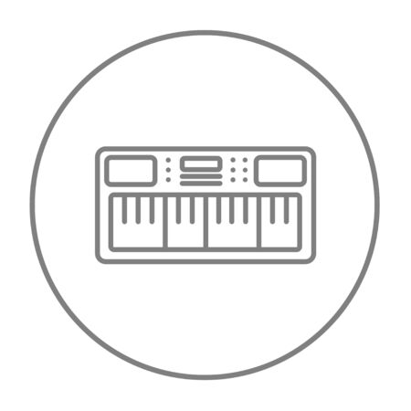 synthesizer: Synthesizer line icon for web, mobile and infographics. Vector grey thin line icon in the circle isolated on white background.