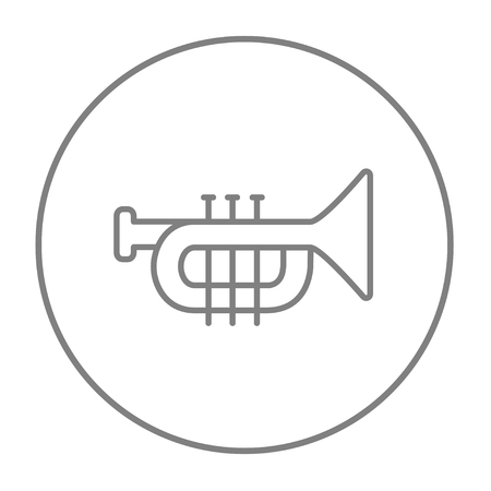 trumpet isolated: Trumpet line icon for web, mobile and infographics. Vector grey thin line icon in the circle isolated on white background.