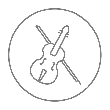 fiddle bow: Violin with bow line icon for web, mobile and infographics. Vector grey thin line icon in the circle isolated on white background.