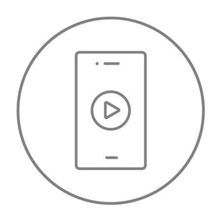 delta cell: Smartphone with play button on a screen line icon for web, mobile and infographics. Vector grey thin line icon in the circle isolated on white background.