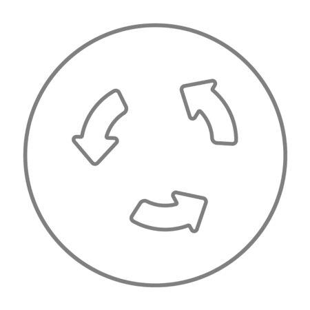 웹, 모바일 및 인포 그래픽을위한 재생 버튼 라인 아이콘. 흰색 배경에 고립 된 동그라미에 벡터 회색 선 아이콘을 벡터. 일러스트