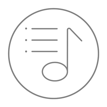 melodious: Musical note line icon for web, mobile and infographics. Vector grey thin line icon in the circle isolated on white background.