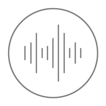 Equalizer line icon for web, mobile and infographics. Vector grey thin line icon in the circle isolated on white background.