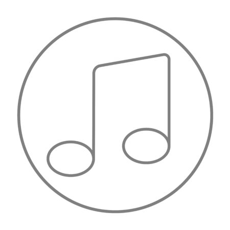 crotchets: Music note line icon for web, mobile and infographics. Vector grey thin line icon in the circle isolated on white background.